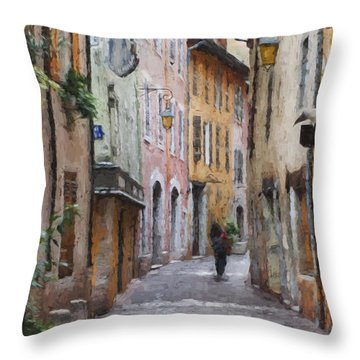 La Pietonne A Annecy - France Throw Pillow