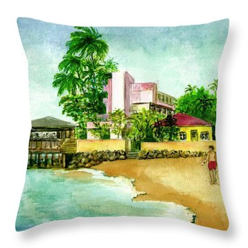 La Playa Hotel Isla Verde Puerto Rico Throw Pillow