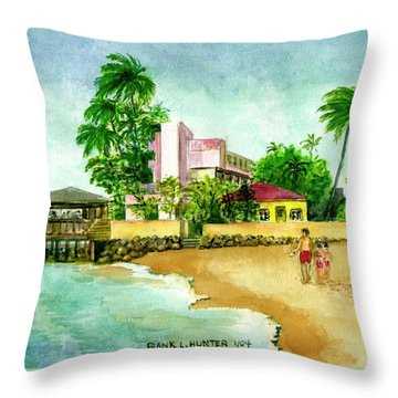 La Playa Hotel Isla Verde Puerto Rico Throw Pillow by Frank Hunter