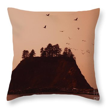 La Push Silhouette With Birds Throw Pillow by Kym Backland