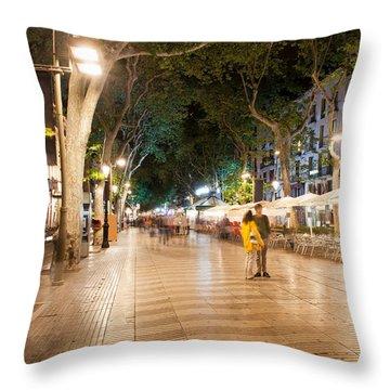La Rambla At Night  In Barcelona Throw Pillow