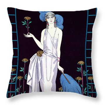 'la Roseraie' Fashion Design For An Evening Dress By The House Of Worth Throw Pillow by Georges Barbier