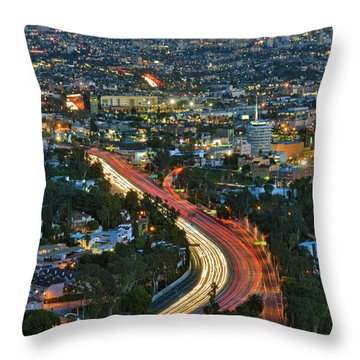 La Skyline Night Magic Hour Dusk Streaking Tail Lights Freeway Throw Pillow by David Zanzinger