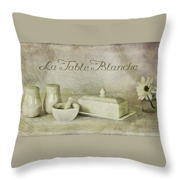 La Table Blanche - The White Table Throw Pillow by Betty Denise