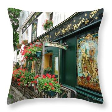 La Terrasse In Montmartre Throw Pillow by Barbie Corbett-Newmin