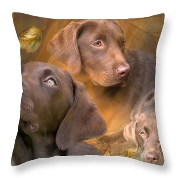 Lab In Autumn Throw Pillow