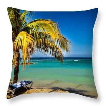 Labadee Beach Relaxing Throw Pillow