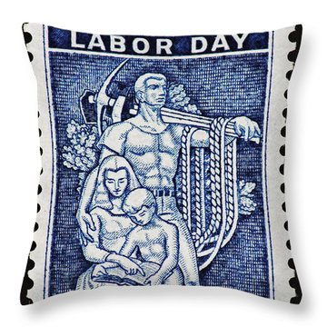 Labor Day Vintage Postage Stamp Print Throw Pillow