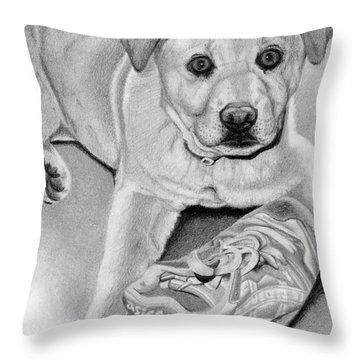 Sneaker Snatcher- Labrador And Chow Chowx Mix Throw Pillow