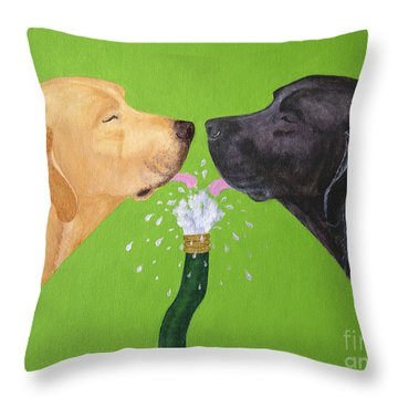 Labs Like To Share 2 Throw Pillow by Amy Reges