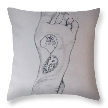 Throw Pillow featuring the drawing Labyrinth Foot Pie Laberinto by Lazaro Hurtado