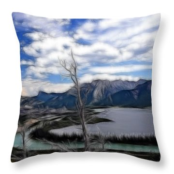 Lac Des Arcs Fractal Throw Pillow