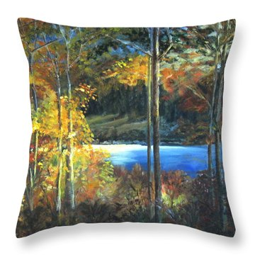 Throw Pillow featuring the painting Lac Fortune Gatineau Park Quebec by LaVonne Hand