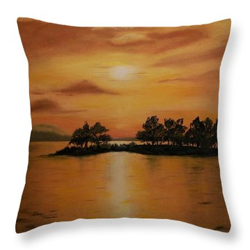 Throw Pillow featuring the painting Lac La Biche  Sunset by Sharon Duguay