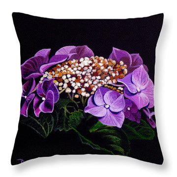 Lace Cap Hydrangea Throw Pillow