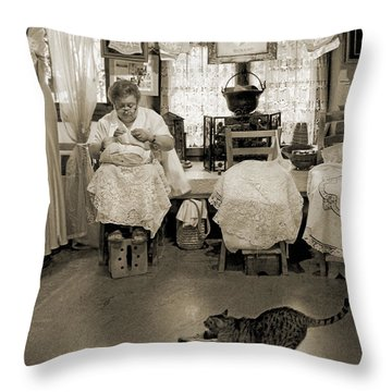 Throw Pillow featuring the photograph Lace Lady Of Burano-bw by Jennie Breeze