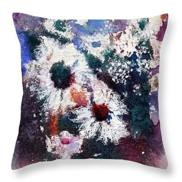 Throw Pillow featuring the painting Lacy Petals by Joan Hartenstein