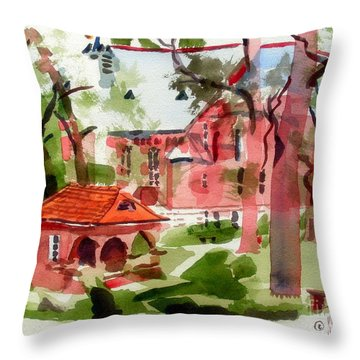 Lacy Spring Greens At Ursuline Academy Throw Pillow by Kip DeVore