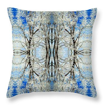 Throw Pillow featuring the photograph Lacy Winter Trees Abstract Art Photo by Marianne Dow
