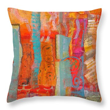 Throw Pillow featuring the mixed media Ladder To Nowhere by Catherine Redmayne