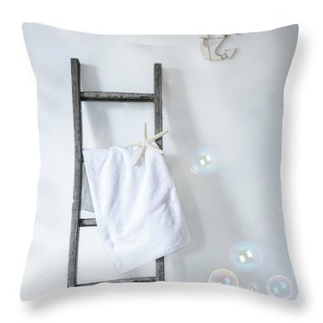 Ladder With Towel Throw Pillow