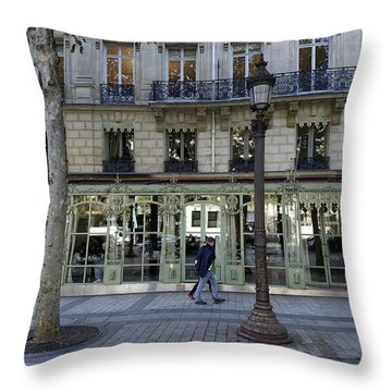 Laduree On The Champs De Elysees In Paris France  Throw Pillow