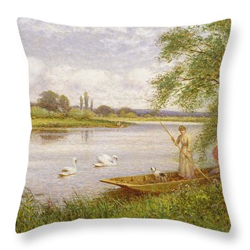 Ladies In A Punt Throw Pillow by Arthur Augustus II Glendening