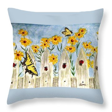 Throw Pillow featuring the painting Ladies In The Garden by Angela Davies