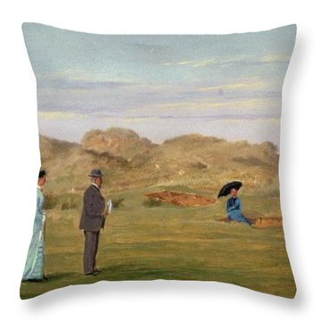 Ladies Match At Westward Ho Throw Pillow by Francis Powell Hopkins