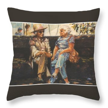 Ladies Of Washington Square Throw Pillow by Walter Casaravilla