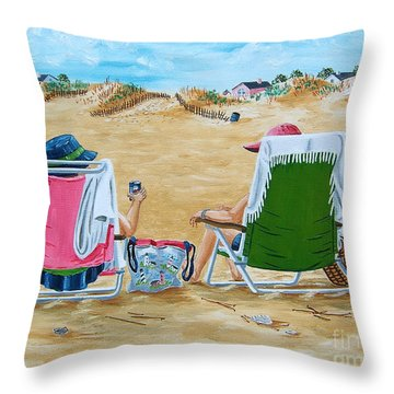 Ladies On The Beach Throw Pillow