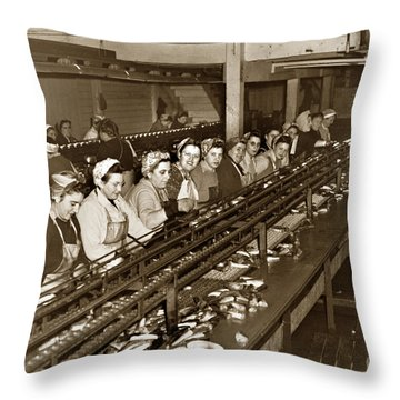 Ladies Packing Sardines In One Pound Oval Cans In One Of The Over 20 Cannery's Circa 1948 Throw Pillow