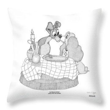 Throw Pillow featuring the digital art Lady And The Tramp by Arthur Eggers