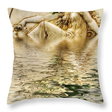 Lady Bathing Throw Pillow by Kaye Menner