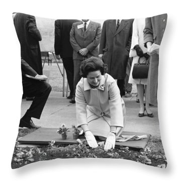 Lady Bird Johnson Planting Throw Pillow by Underwood Archives