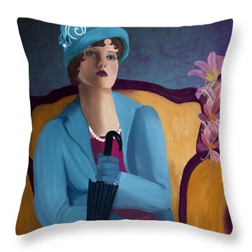 Lady Blue Throw Pillow by Sydne Archambault