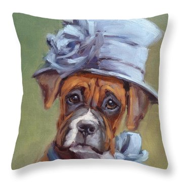 Lady Boxer With Blue Hat Throw Pillow