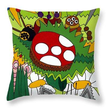 Lady Bug Throw Pillow by Rojax Art