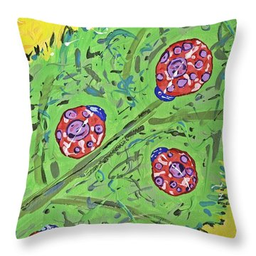 Lady Bug Shenanigans Throw Pillow