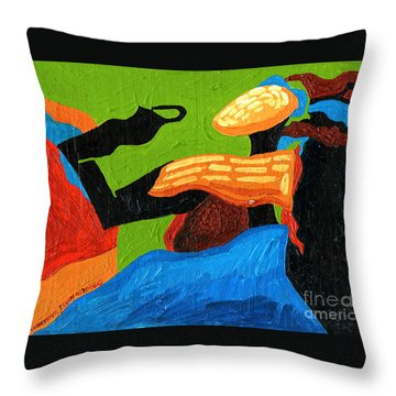 Lady Enigmatic Rock Throw Pillow by Genevieve Esson