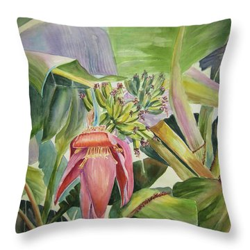 Lady Fingers - Banana Tree Throw Pillow by Roxanne Tobaison