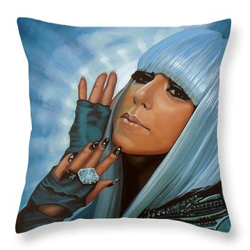 Lady Gaga Painting Throw Pillow