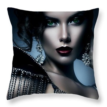 Lady Green Eyes Throw Pillow by Karen Showell