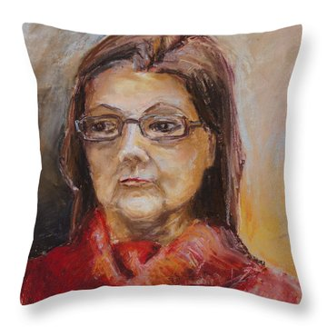 Lady In A Red Pullover Throw Pillow by Barbara Pommerenke