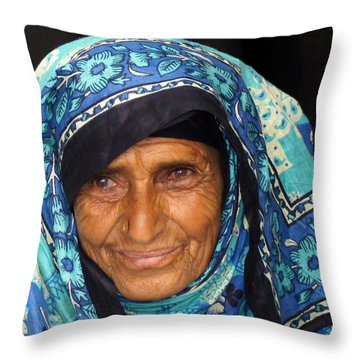 Lady In Blue Throw Pillow by Debi Demetrion