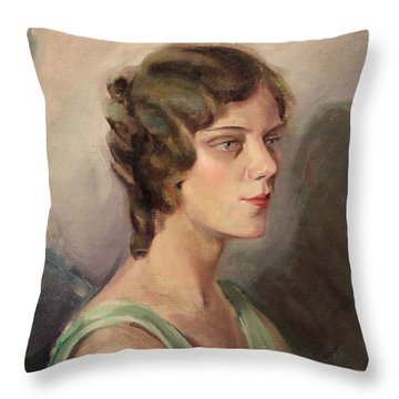Lady In Green 1929 Throw Pillow