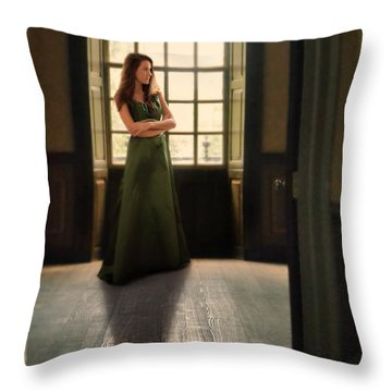 Lady In Green Gown By Window Throw Pillow by Jill Battaglia