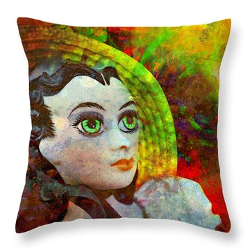 Throw Pillow featuring the mixed media Lady In Red by Ally  White