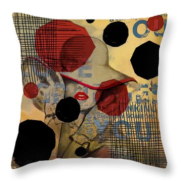 Lady In Red Throw Pillow by Corporate Art Task Force