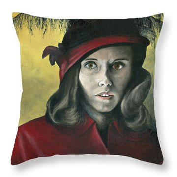 Throw Pillow featuring the painting Lady In Red by Mary Ellen Anderson